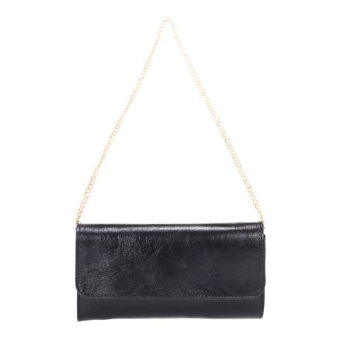 Giulia Massari Black Printed Suede Clutch Bag