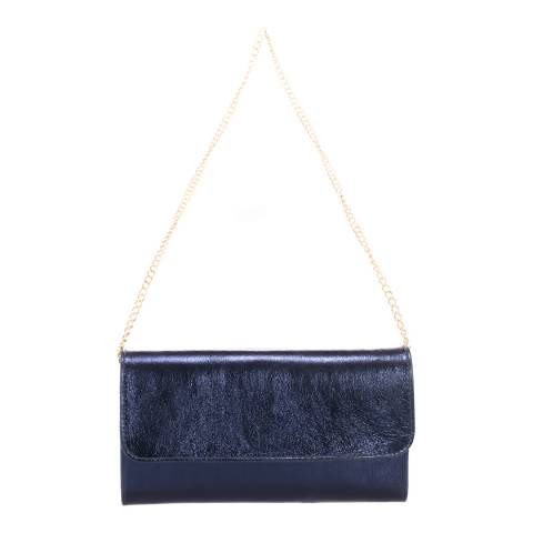 Giulia Massari Blue Printed Suede Clutch Bag