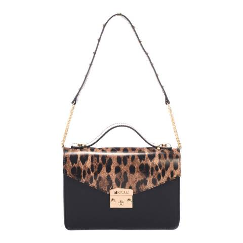 Krole Black/Printed Leather Crossbody Bag
