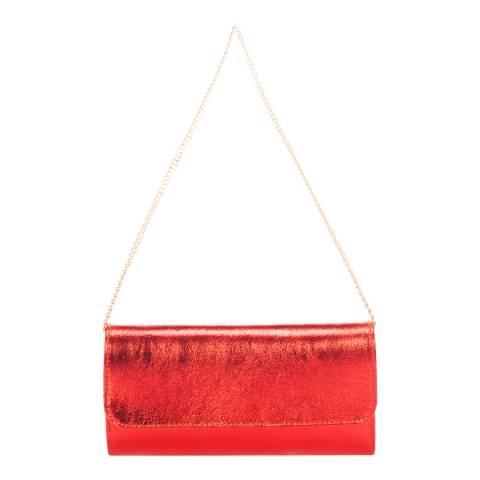 Giulia Massari Red Printed Suede Clutch Bag