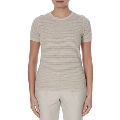 Boss by Hugo Boss Beige Ribbed Knit Virgin Wool Fensy Jumper