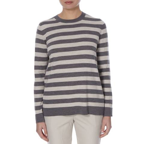 Boss by Hugo Boss Grey/Cream Feila Virgin Wool Jumper
