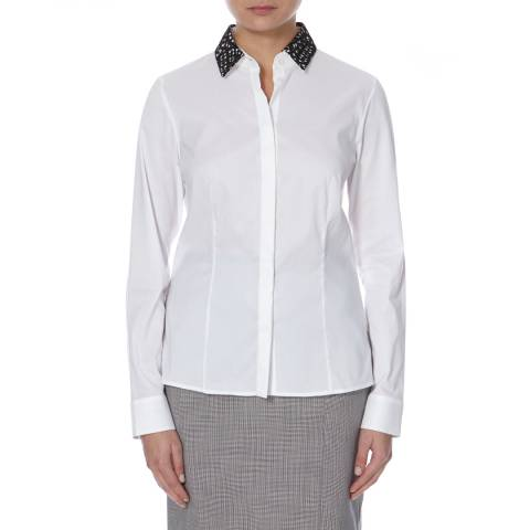Boss by Hugo Boss White Lace Collar Cotton Blend Boresa Shirt