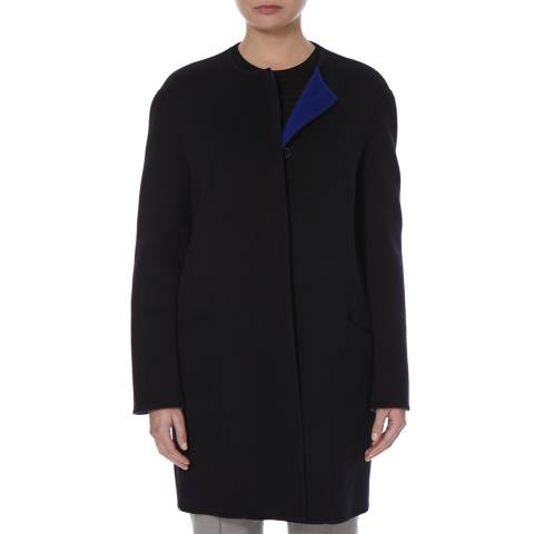 Boss by Hugo Boss Black/Blue Contrast Lining Wool Cashmere Camora Coat