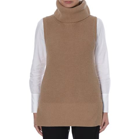 Boss by Hugo Boss Light Brown Farbola Virgin Wool Knit