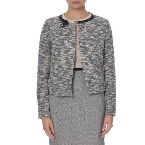 BOSS ORANGE Black/Cream Leather Detail Orandella Jacket