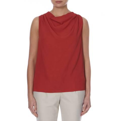 BOSS ORANGE Red Sleeveless Draped Kadrapi Top