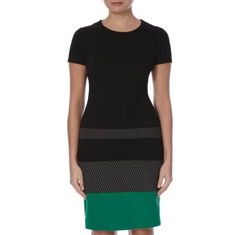 Boss by Hugo Boss Black/Grey/Green Fitted Hanine Dress