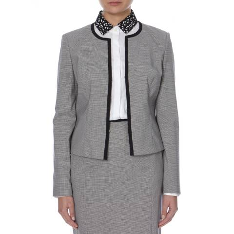 Boss by Hugo Boss Black/White Houndstooth Jileo Wool Blend Jacket