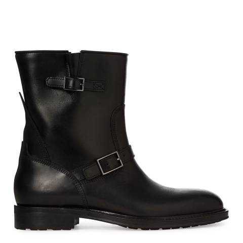 Boss by Hugo Boss Black Leather Multi Buckle Shana Utility Boots