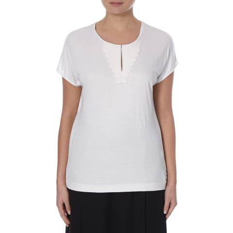 Boss by Hugo Boss White Short Sleeve Pintuck Detail Top