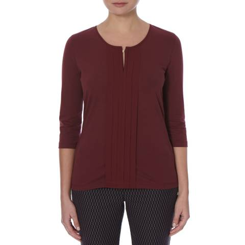 Boss by Hugo Boss Red 3/4 Sleeve Pintuck Detail Top