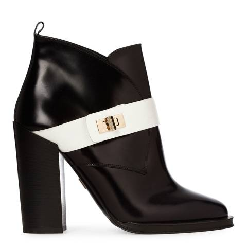 Boss by Hugo Boss Black Leather Block Heel Blend Ankle Boot With White Stripe