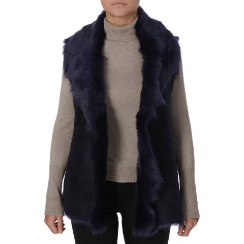 Shearling Boutique Navy Waterfall Shearling Long Gilet