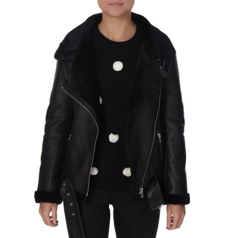 Shearling Boutique Oversized Black Merino Ladies Sheepskin