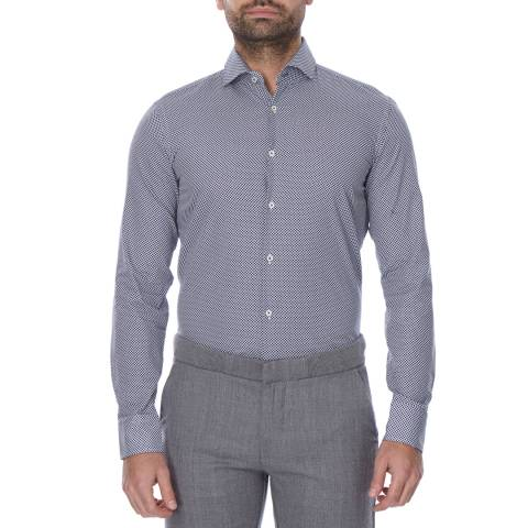 Boss by Hugo Boss Navy/Pale Grey Micro Print Slim Fit Cotton Jaser Shirt
