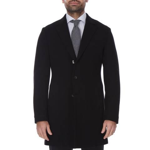 Boss by Hugo Boss Black Three Button Wool Blend Shawn Coat