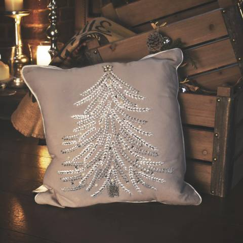Gallery Silver Festive Tree Cushion 40x40cm