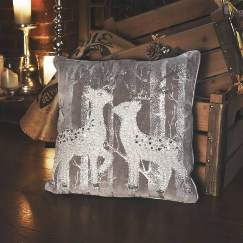 Gallery Silver Woodland Reindeers Cushion 40x40cm