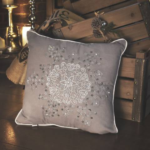 Gallery Silver Sparkling Snowflake Cushion 40x40cm