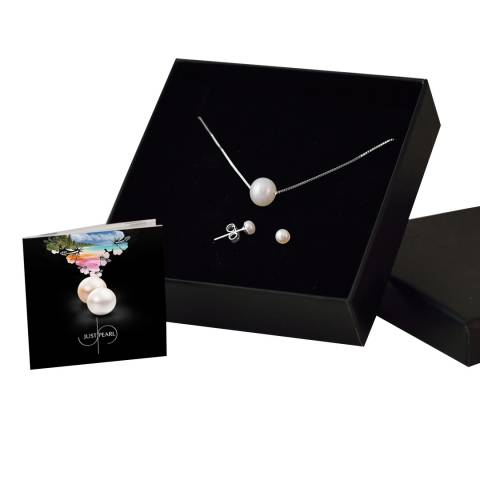 Just Pearl White Pearl Necklace and Earring Set
