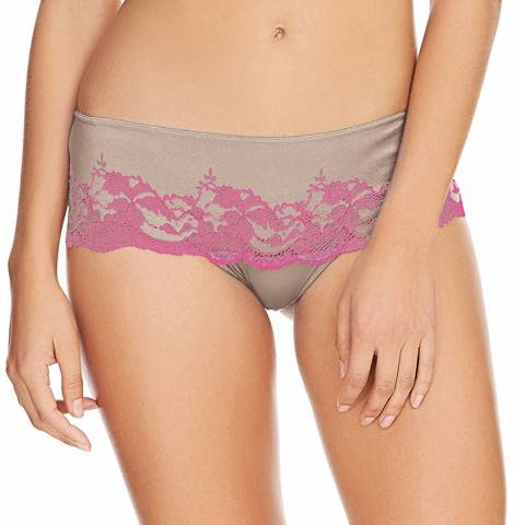 Wacoal Grey/Pink Lace Affair Thong