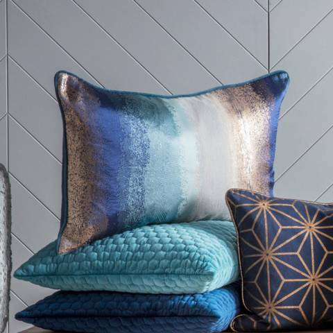Gallery Ink/Teal Jacquard Metallic Cushion 40x60cm