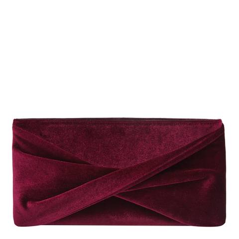 Reiss Berry Red Velvet Beau Knot Evening Bag