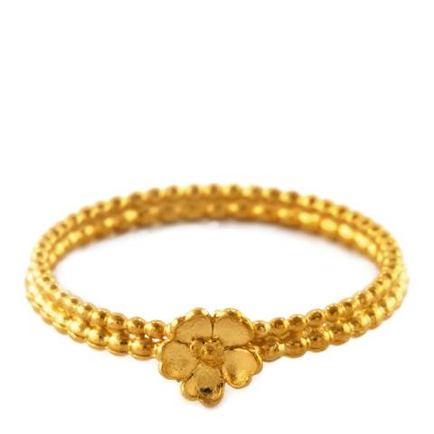Alex Monroe Gold Cinquefoil Double Pearl Wire Ring