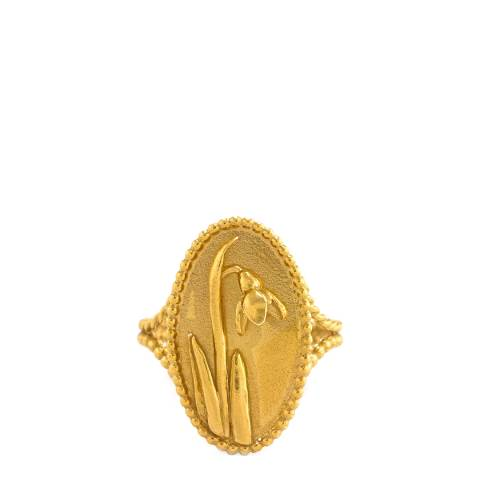 Alex Monroe Gold Plated Oval Snowdrop Pearl Wire Cameo Ring