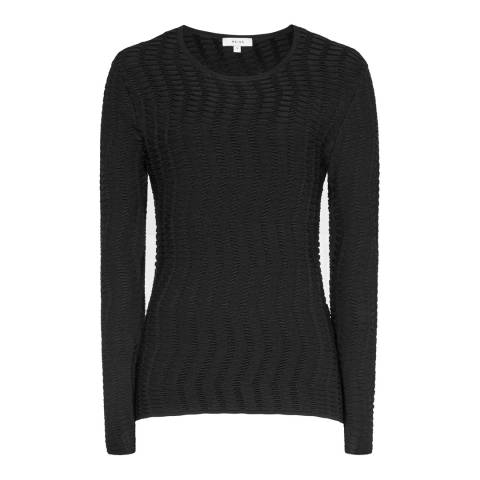 Reiss Black Textured Suki Top