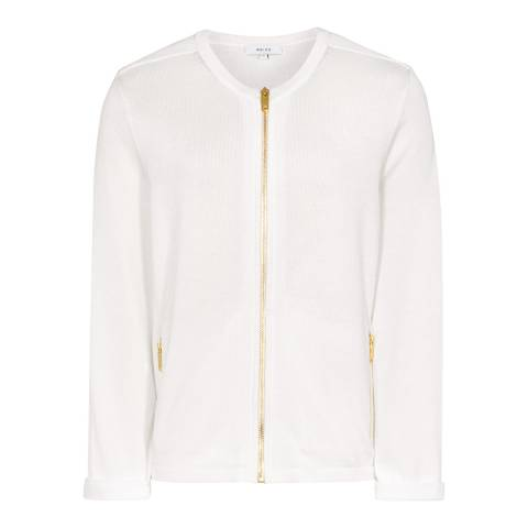 Reiss White Zipped Cotton Blend Mildred Cardigan