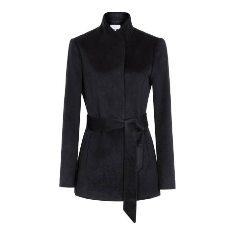 Reiss Navy Wool Belted Reema Jacket