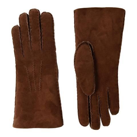 Baa Baa Womens Brown/Ecru Lambskin Hand Stitched Gloves