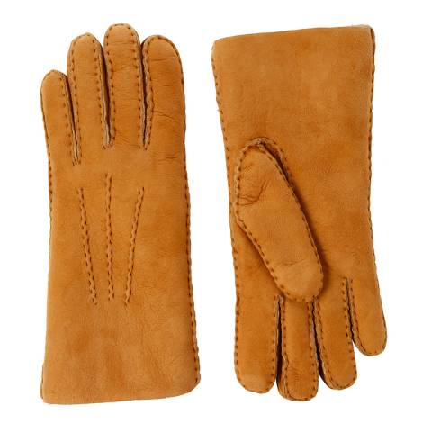 Baa Baa Womens Tan/Ecru Lambskin Hand Stitched Gloves