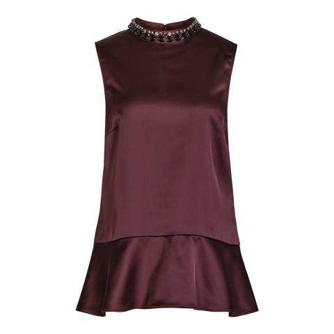 Reiss Red Embellished Acorn Top