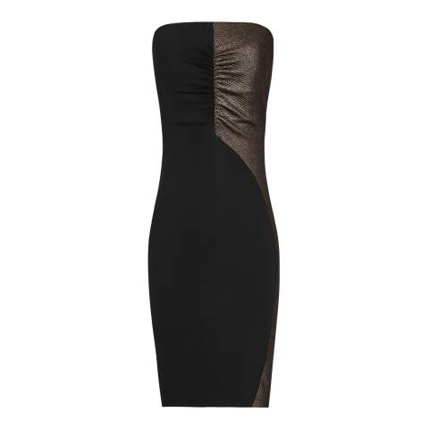 Reiss Black/Bronze Metallic Celeste Dress