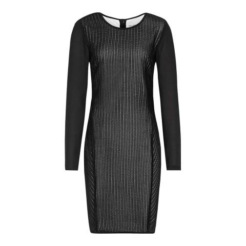 Reiss Black Sheer Sleeve Chloe Dress