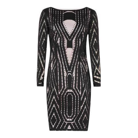 Reiss Black Lace Detail Kaz Dress