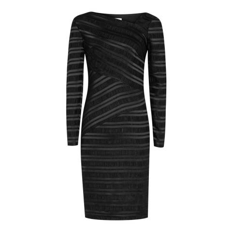 Reiss Black Stripe Texture Ailette Dress