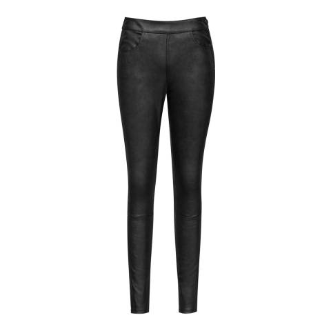 Reiss Grey Cohen Metallic Stretch Leather Leggings
