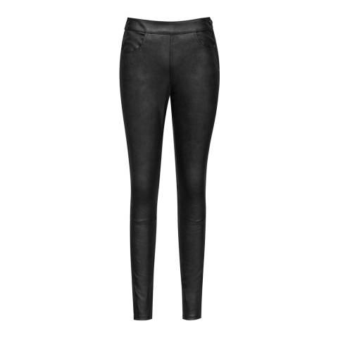 Reiss Grey Metallic Stretch Leather Cohen Leggings