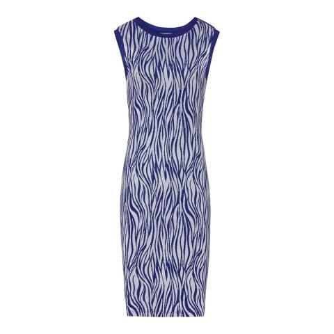 Reiss Blue/White Textured Feist Dress