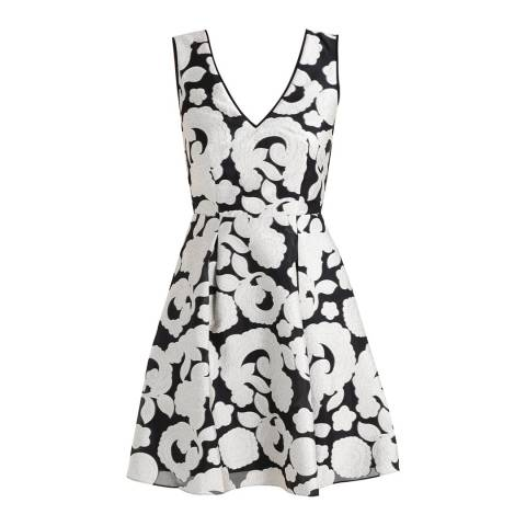 Reiss Black/White Fit and Flare Miriah Dress