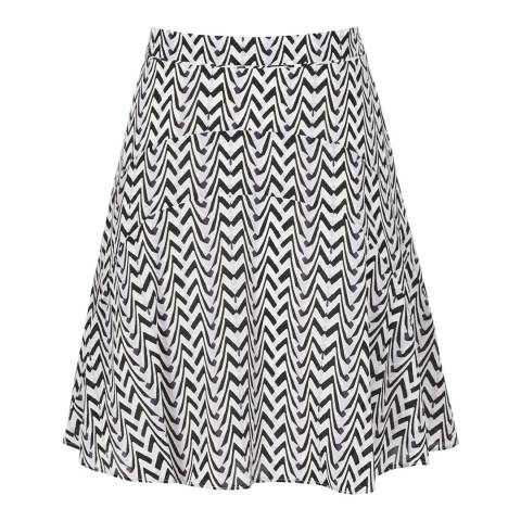 Reiss Black/White Printed Christa Skirt