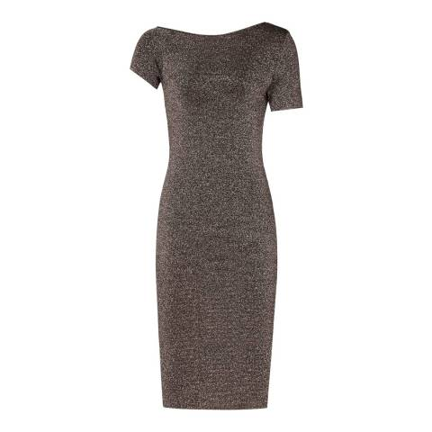 Reiss Silver Metallic Knitted Luna Dress