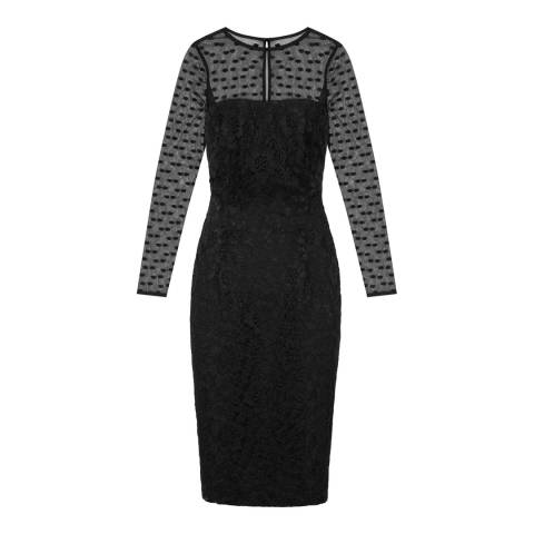 Reiss Black Lace and Spotted Mesh Diana Dress