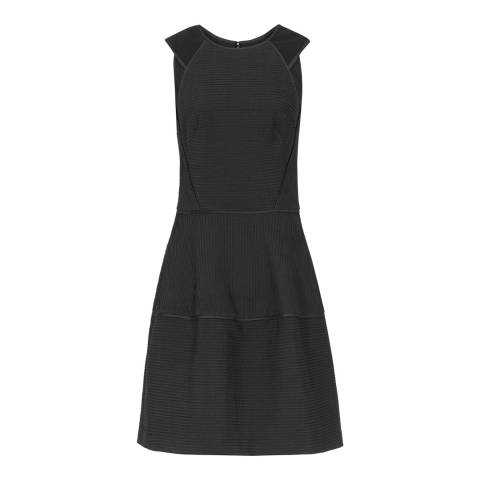 Reiss Black Sheer Stripe Zaria Dress