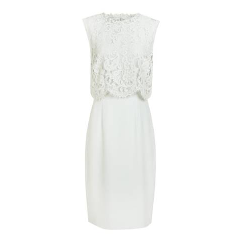 Reiss Green Lace Overlay Bobbi Dress