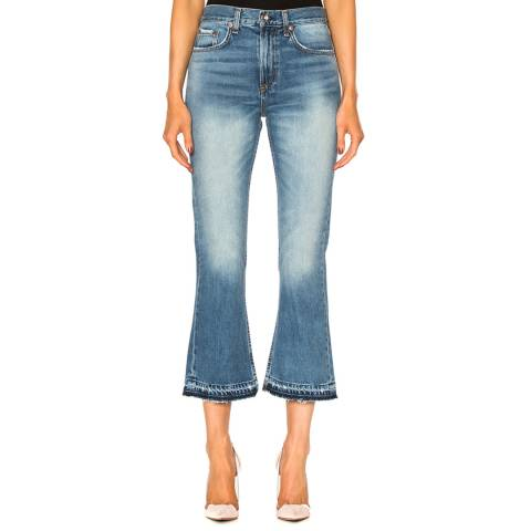 Rag & Bone Women's Blue Vintage Crop Flare Cotton Jeans